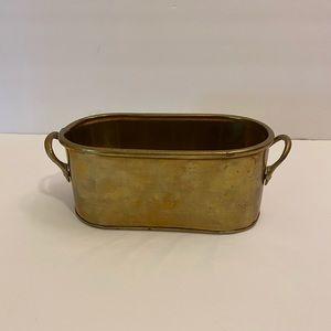 Vintage oval brass caddy
